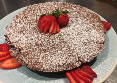Canary Cove Private Chef-prepared Chocolate Lava Cake with Fresh Strawberries